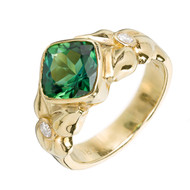 Cushion Gem Green Tourmaline Ring 18k Yellow Gold Diamond