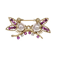 Estate 1950 Love Birds Pin Ruby Diamond Cultured Pearl 14k Yellow Gold