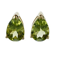 Bright Green Peridot Earrings Pear Shaped 14k Gold