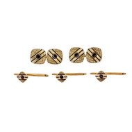 Art Deco 1925 Cuff Link Shirt Stud Dress Set 14k Gold Sapphire