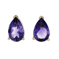 Bright Purple Amethyst Earrings Pear Shape 14k Gold