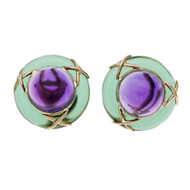 Button Style Purple Green Glass Earrings 14k Yellow Gold
