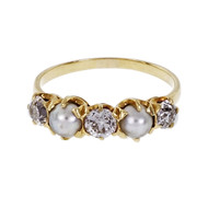 Victorian 1890 Natural Pearl Ring Old Mine Diamonds 18k Yellow Gold