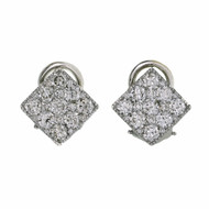 Estate Flat Square Diamond Earrings 1.52cts 18k White Gold