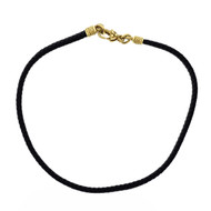 Black Mesh Leather Cord Necklace 18k Yellow Gold Diamond Catch
