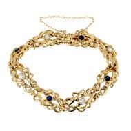Art Nouveau Woven Link Bracelet Diamond Sapphire 18k Gold