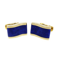 Estate Wave Design Blue Lapis Cuff Links 18k Yellow Gold
