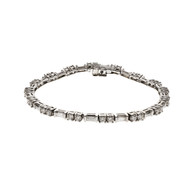 Diamond Bracelet DKW Baguette Round Diamonds 18k White Gold