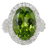 Vintage 1960 Oval Peridot Cluster Ring 18k White Gold Diamond