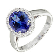 Peter Suchy Oval Tanzanite Diamond Cluster Ring 18k White Gold