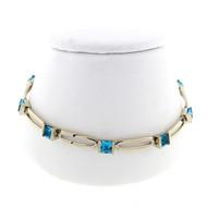 Estate 3.15ct Square Blue Topaz Open Link Bracelet