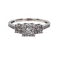 Estate 3 Stone Cluster Diamond Engagement Ring 14k White Gold