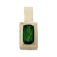 Estate 9.00ct Green Cushion Tourmaline Pendant Swissa 14k Gold