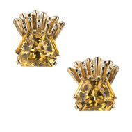 Estate Retro 1940 Hexagon Citrine Earrings Diamond Clip Post