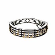 Vintage Oscar Caplan Bangle Bracelet Music Note Siler 14k