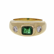 Estate Bright Fine Green Emerald Ring .50ct GIA Certified 18k Gold Diamond