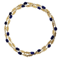 Vintage 1930 Natural GIA Lapis Necklace Long Chain 18k Gold