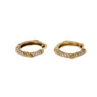 Estate Diamond Hoop Earrings 18k Yellow Gold