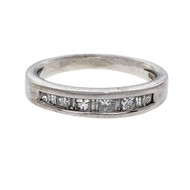Channel Set Princess & Baguette Cut Diamond Wedding Band Ring Platinum