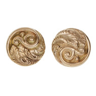 Art Nouveau Retro Gold Round Earrings 14k Gold