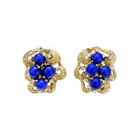 Vintage 1950 Textured Lapis Diamond Earrings 18k Clip Post