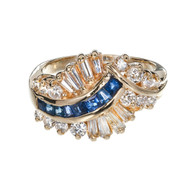 Vintage 1960 Swirl Dome Ring 14k Gold Sapphire Diamond