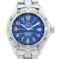 Breitling Superocean Automatic Date Wrist Watch Steel Blue Dial