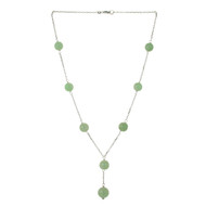 Certified Natural Jadeite Jade Necklace 14k White Gold GIA