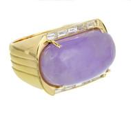 Lavender Purple Natural Jadeite Jade Ring 18k Gold Diamond GIA Certified