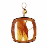 Peter Suchy Quartz Crystal Pendant 18k Gold Precious Topaz