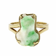 1980 Jade Carved Frog Ring 14k Gold GIA Certified