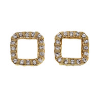 Estate 1970 Bar Set Diamond Square Earrings 14k Yellow Gold