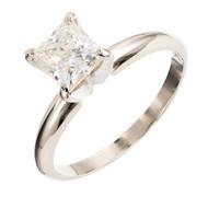 Estate .94ct Princess Cut Diamond Engagement Ring Clarity Enhanced