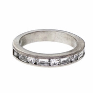 Diamond Wedding Band Round & Emerald Cut Diamonds Platinum
