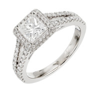 Peter Suchy Princess Cut Diamond Halo Engagement Ring 14k White Gold <br><br><ul>
