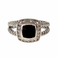 Estate David Yurman Black Onyx Albion Ring Petite Silver Split Shank
