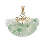 Vintage 1950 Carved Green Jadeite Jade Pendant 14k Gold Top