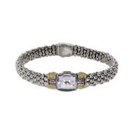 Estate Lapis Caviar Bracelet Silver & 18k Gold White Topaz