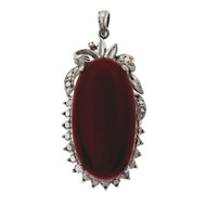 Natural Bright Orange Red Coral Pendant 18k White Gold GIA Certified
