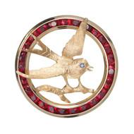 Estate 1960 Swallow Bird Pin 14k Gold Garnet Circle