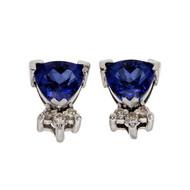 Triangle Bright Blue Tanzanite Earrings 14k White Gold Diamond