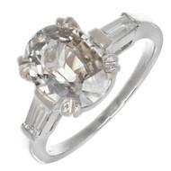Peter Suchy Cushion Halo Round Diamond Engagement Ring Platinum Split Shank