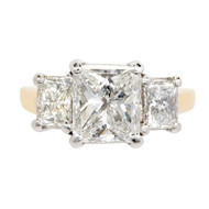 Radiant Cut Diamond 3 Stone Engagement Ring Platinum 18k Gold GIA Certified