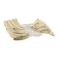 Van Cleef & Arpels 1.60 Carat Diamond Swirl Gold Brooch