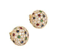 Cartier Panthere 8.3 Carat Dome Diamond Sapphire Emerald Ruby Gold Earrings