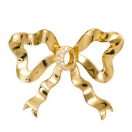 Cellino Bow Pin 18k Yellow Gold Diamond