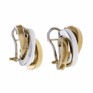 Estate Tri Color Hoop Earrings 18k Italian