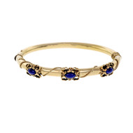 Vintage 1940 Lapis Hinged Bangle Bracelet 14k Yellow Gold