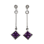 Diamond Pink Sapphire Dangle Earrings 14k White Gold