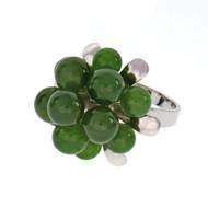 Vintage 1950 Nephrite Jadeite Jade Bead Flower Ring 18k White Gold